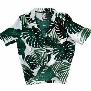 Hawaiian Palm Print Button Up Shirt Short Sleeve